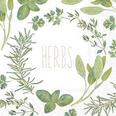 IHR Herbs Foliage Leaves Printed 3-Ply Paper Luncheon Napkins Wholesale L729500