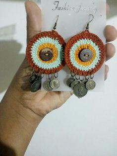 Brinco artesanal olho de coruja.