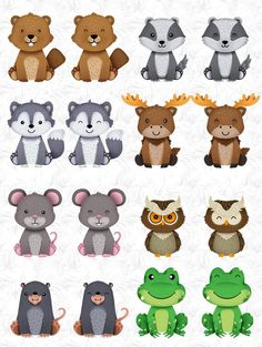 Woodland animal bundle by Accalia Digital Planner Stickers, Woodland Nursery Decor, Woodland Baby, Forest Animals, Woodland Animals, Scrapbooking Invitation, Baby Drawing, Cute Clipart, Forest Friends