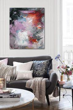 Rikke Laursen moderne abstrakte malerier | S H O W R O O M  Abstract painting by Rikke Laursen in design interior living room