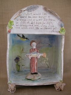 From The Constant Gatherer Julie Whitmore Pottery based on a poem by Gerard Manley Hopkins. I think I would make this a retablo. Paper Clay, Clay Art, Ceramic Clay, Ceramic Pottery, Little Box, Pottery Classes, Ceramics Projects, Pottery Designs, Altered Art