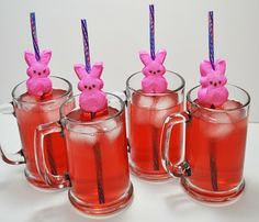 More fun stuff to make with PEEPs! Slide a straw through each bunny, and bam, instant cute decorative straws for party drinks.