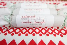 Christmas gift idea: homemade cookie dough with baking instructions on a cute label