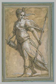 Diane debout tenant une flèche et un carquois - CAMBIASO Luca
