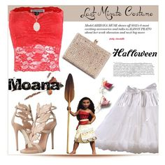 """Last-Minute Halloween Costume, Moana: 01/11/16"" by pinky-chocolatte ❤ liked on Polyvore featuring Giuseppe Zanotti and Disney"