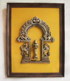 Vintage Prabhavali With Mythical Yalis & Hindu Goddess Meenakshi Framed On Gold Raw Silk, Ht 45 cm x W 35 cm, Handcrafted Temple Frame Indian Home Interior, Indian Interiors, Indian Wall Decor, Indian Home Decor, Ethnic Home Decor, Luxury Home Decor, Indian Room, Indian Art, West Indian