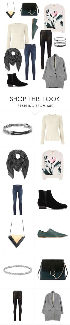 """""""Week 3"""" by lonely-black-cat ❤ liked on Polyvore featuring David Yurman, Miss Selfridge, Versace, Burberry, AG Adriano Goldschmied, Étoile Isabel Marant, Marni, Chloé, rag & bone and Isabel Marant"""