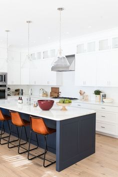 Add texture and color with a runner by your kitchen sink. Kitchen Paint, New Kitchen, Kitchen Dining, Kitchen Cabinets, White Cabinets, Kitchen Sinks, Dining Room, Blue Kitchen Island, Kitchen Islands
