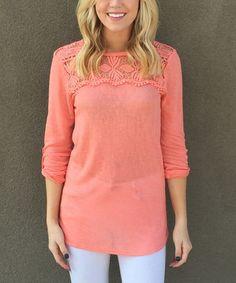 Look at this #zulilyfind! Coral Crochet-Yoke Roll-Tab Sleeve Tunic #zulilyfinds