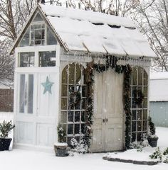 Garden shed decorated for Christmas