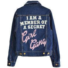 GIRL GANG MEMBER DENIM JACKET (700 RON) ❤ liked on Polyvore featuring outerwear, jackets, jean jacket, denim jacket, blue jackets, blue jean jacket and blue denim jacket