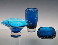 Blue glass by Závod Harrachov, Borske Sklo, Czech.