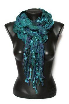 SALE Ruffle Fashion Scarf  Blue Fringe Scarf  by CRAZYSPIRIT, $10.00