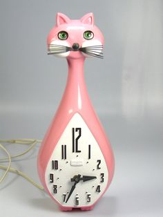 Vintage Spartus Cat Clock RARE Pink Model Mid Century Modern Retro Atomic Works | eBay