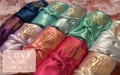 Bridesmaid Robes, Set 5, Personalized Satin Monogram Silk Robes, Bridal Shower, Wedding, Blush, Champagne, Pink, Navy, Purple, White Robes