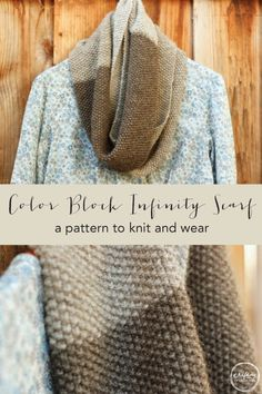 Color Block Knit Infinity Scarf Pattern | craftingconnections.net