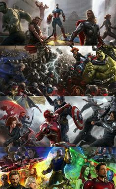 I love how Marvel would release these multi-poster concept art for each Avengers film at San Diego Comic Con. Mundo Marvel, Lego Marvel, Marvel Dc Comics, Marvel Heroes, Captain Marvel, The Avengers, Poster Marvel, Avengers Poster, Comic Movies
