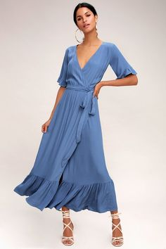 Magical moments happen in the Lucy Love Enchanted Slate Blue Midi Dress! Woven midi dress with a surplice bodice and short sleeves. Blue Summer Dresses, Day Dresses, Blue Dresses, Casual Dresses, Fashion Dresses, Dress Summer, Blue Midi Dress, Floral Midi Dress, Maxi Wrap Dress