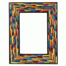 Indian artisans adorn this unique frame with pieces of broken glass bangles.