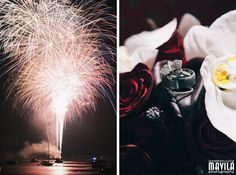 #Fireworks on #FourthofJuly and the beautiful #bouquet and #weddingrings. Dark red roses #weddingbouquet | Mavila Photography: http://mavilaphotography.com/amabel-and-bens-destination-wedding-casa-monica-hotel-in-st-augustine-fl/ #mavilaphotography #detailsfrommavilaphotography #weddingsfrommavilaphotography