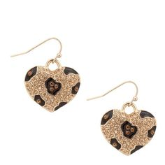 Gold Crystal Animal Print Heart Drop Earring ❤ liked on Polyvore