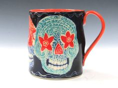 Sugar SKULL Mug Colorful HALLOWEEN Day of the by TheClayBungalow