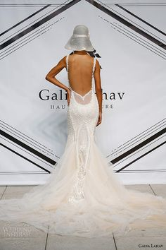 galia lahav fall 2015 bridal bustier sweetheart strap sheath fit flare low cut back wedding dress style greta garbo back