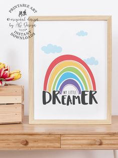 My Little Dreamer Printable rainbow sign, Baby nursery wall decor, Kids room wall art, Nursery quote prints, Rainbow baby gift, Colorful art