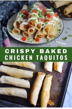 This Baked Chicken Taquitos recipe is so easy! The Taquitos are crispy on the outside, soft and delicious on the inside. Great for family dinner or a party! Taquitos Recipe, Chicken Taquitos, Crispy Baked Chicken, Baked Chicken Recipes, Healthy Comfort Food, Healthy Eats, Healthy Snacks, Mexican Dinner Recipes, Easy Family Meals