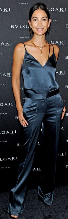 Lily Aldridge: Shoes – Gianvito Rossi  Shirt and pants – Hellessy  Jewelry – Bvlgari