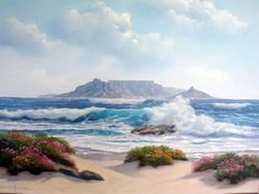 View of table Mountain from Blouberg. contact me if you want something similar painted. Table Mountain Cape Town, Landscape Paintings, Landscapes, South African Art, Mountain Paintings, Mini Canvas, Acrylic Painting Canvas, Art Inspo, Watercolors