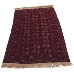 """Persian Bokhara Hand Knotted Wool Area Rug - 3'7"""" X 6'1"""" ($590) ❤ liked on Polyvore featuring home, rugs, persian style area rugs, persian area rugs, wool rugs, persian style rugs and hand knotted persian rugs"""