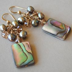 abalone, pearl, crystal earrings from happyshackdesigns on etsy