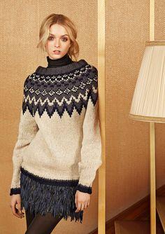 "Ravelry: Nr 7 ""Polarstjerne"" damegenser pattern by Sandnes Design Knitwear Fashion, Knit Fashion, Clothing Patterns, Knitting Patterns, Norwegian Knitting, Icelandic Sweaters, Fair Isle Knitting, How To Purl Knit, Ikon"