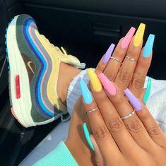 Acrylic Coffin Nails Designs In Summer - Summer Acrylic Nails Rainbow Nails, Neon Nails, My Nails, Glitter Nails, Pastel Nails, Neon Nail Colors, Neon Yellow Nails, Colorful Nail Art, Gelish Nails