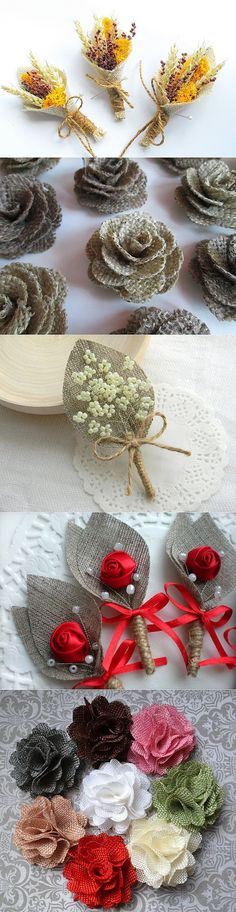 The red rose with burlap texture leaves Burlap Flowers, Felt Flowers, Diy Flowers, Fabric Flowers, Paper Flowers, Burlap Projects, Burlap Crafts, Fabric Crafts, Hobbies And Crafts
