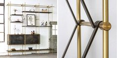 Oak and Brass Shelving System from Amuneal