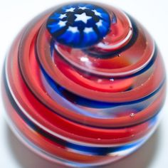 """Contemporary handmade art glass marble """"Stars and Stripes"""", by David Salazar, Marbles Images, Glass Toys, Marble Board, Glass Marbles, Glass Paperweights, Glass Globe, Glass Ball, Red White Blue, Paper Weights"""