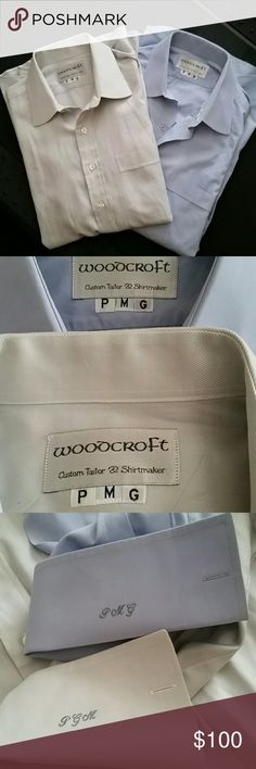 🚨CLEARANCE 🚨MEN'S CUSTOM MADE DRESS SHIRTS From My Hubby's Closet!  BUNDLE OF TWO DRESS SHIRTS CUSTOMER MADE WITH HIS INITIALS PMG ! IN THE NECK AND ON ONE SLEEVE WHERE YOU PUT YOUR CUFFLINKS!  SIZE XL AMAZING CONDITION!  HE LOVE CLOTHES; ):) AS SEEN IN PIC 4 THERE IS A SPOT, BUT YOU CAN'T SEE IT WHEN ITS FOLDED BACK ! Shirts Dress Shirts