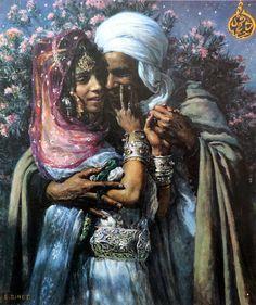Etienne Dinet (París, 1861-1929)  Esclava del amor y la luz de los ojos. Abd-el Gheram y Nouriel Aîn, leyenda árabe (1900)