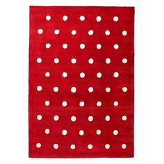 Red polka dot girls rug. Beautiful cherry red colour to brighten a room.