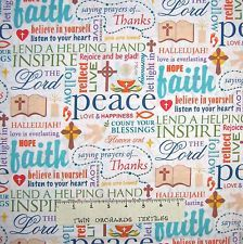 Religious Fabric - Christian Faith Words, Bible, Hearts White - Springs 26