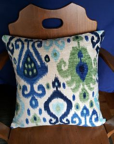 This pillow cover will add a pop of colour and texture to any room. Ikat Pillows, Color Pop, Colour, Pillow Covers, Burlap, Coin Purse, Reusable Tote Bags, Texture, Purses