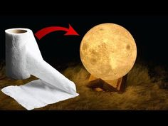 Easy DIY Moon Lamp Tutorial - - In this tutorial you will learn how to create your very own DIY moon lamp from scratch using easy to find materials. Make A Lampshade, Paper Lampshade, Cloud Lampshade, Flower Lampshade, Lampshade Chandelier, Tissue Paper Crafts, Diy Paper, Tissue Paper Lanterns, Moon Light Lamp