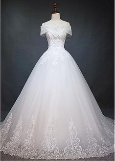[279.20] Marvelous Tulle Off-the-shoulder Neckline Ball Gown Wedding Dress With Beaded Lace Appliques - dressilyme.com