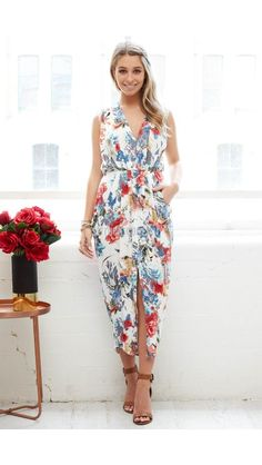 Hamptons Drape Dress in White with Red and Navy Floral