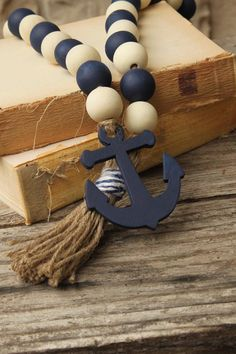 Wood Bead Garland, Beaded Garland, Beautiful Beach Houses, Decorative Beads, Dollar Store Crafts, Ceremony Decorations, Beach House Decor, Loom Beading, Bead Crafts