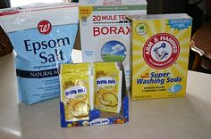 Dishwasher Detergent  1 box borax  1 box washing soda  24 packets lemon kool-aid  3 c epsom salt    1tbs per dish load