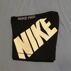 Nike Pro Spandex Shorts Only worn once. Large NIKE on the left leg. Runs fairly small. Nike Shorts