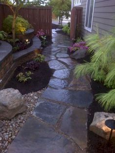 The garden pathway is a good place for your walks. Moreover, they are also a great decorative element to further enrich your landscape. So you cannot ignore their aesthetic value in garden designs. In a sense, a unique and charming garden path may reflect Flagstone Patio, Backyard Patio, Backyard Ideas, Desert Backyard, Patio Decks, Wood Patio, Large Backyard, Small Patio, Sloped Backyard